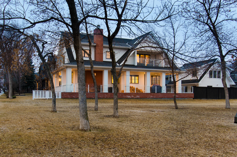 Photograph of the exterior of a home taken at twilight